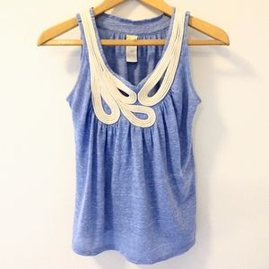 Anthropologie C Keer Blue Rope Tank Top Heather XS